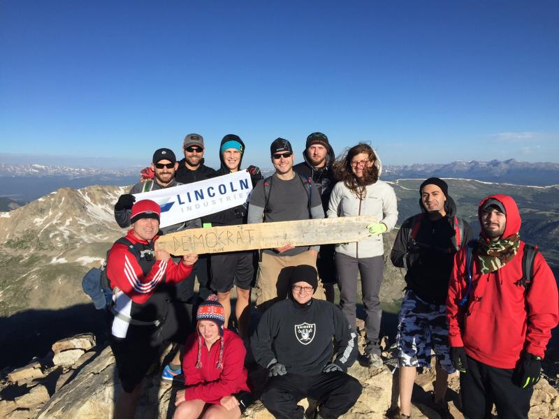 Lincoln Industries group summits Mt. Democrat in Colorado, one of three summits on the 2016 annual mountain climb.